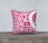 Bordeaux Map Pillow Cover in Magenta