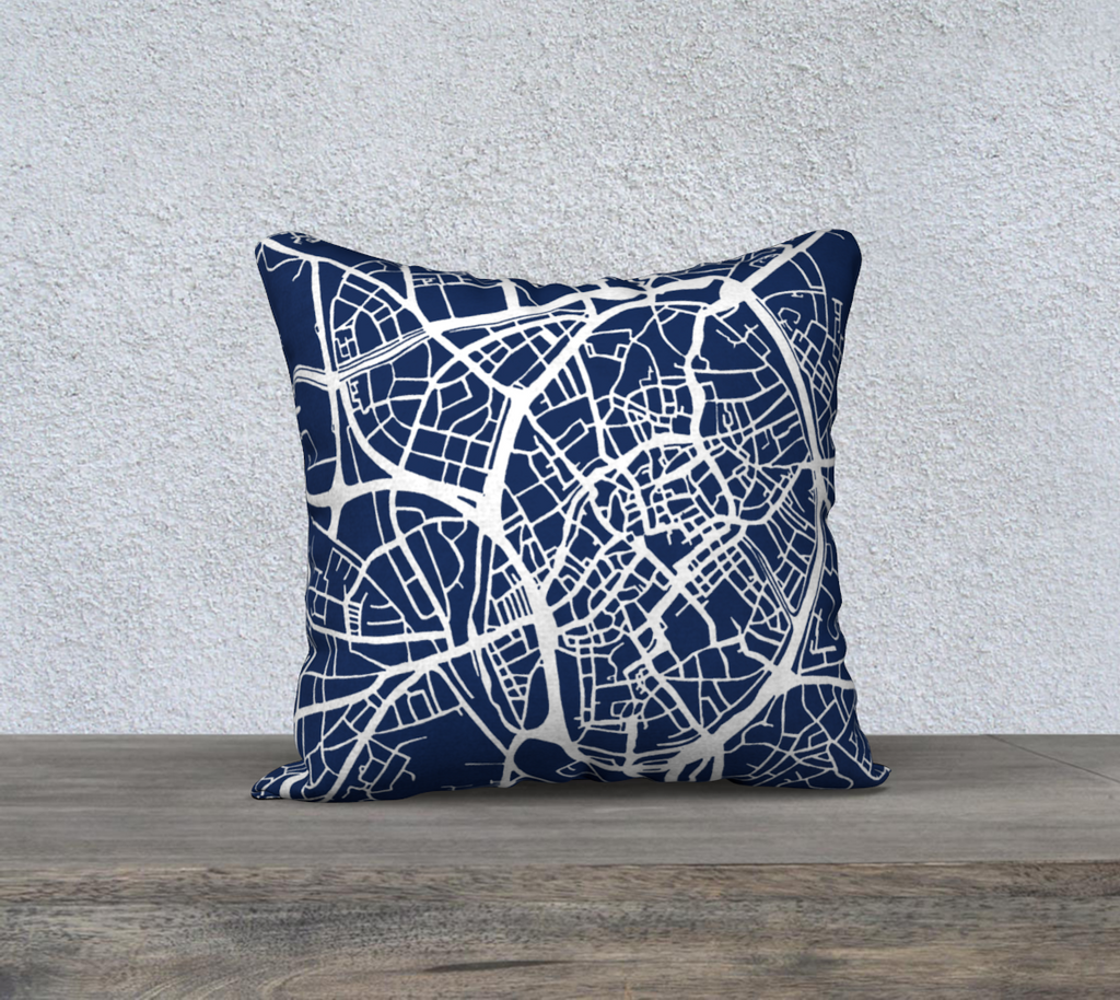 Bruges Map Pillow Cover in Navy