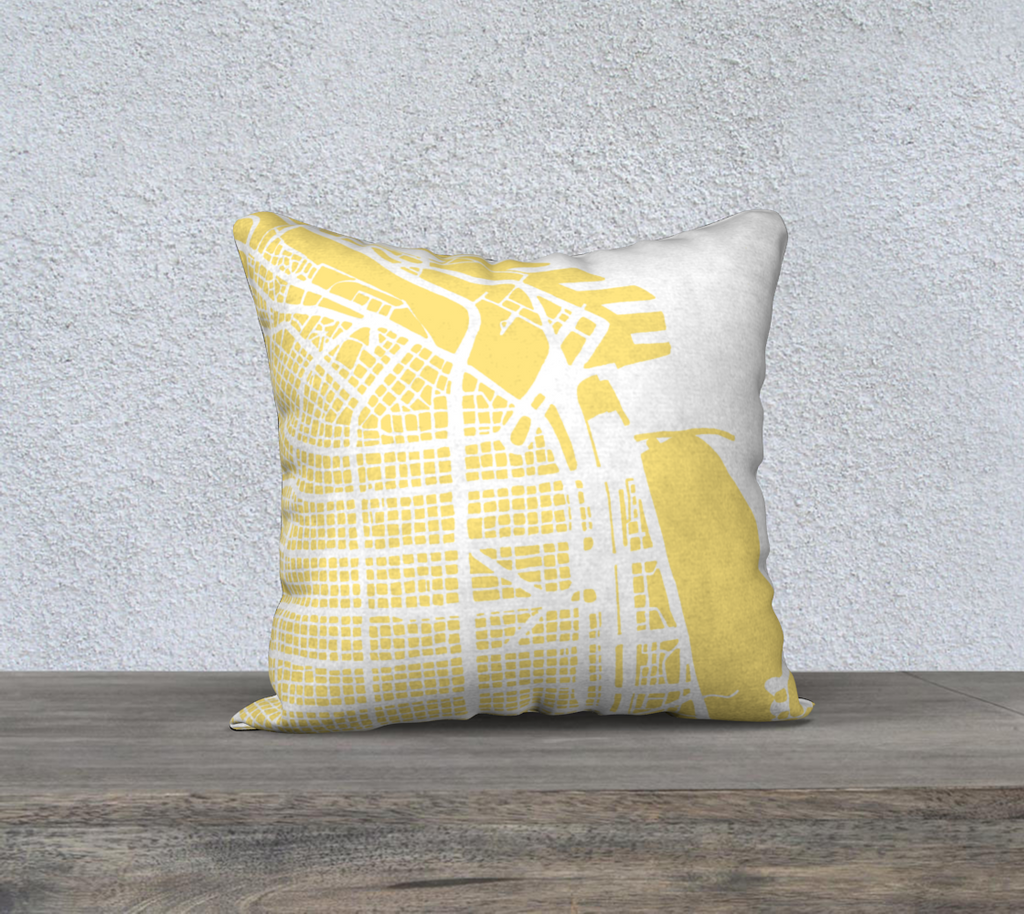 Buenos Aires Map Pillow Cover in Yellow