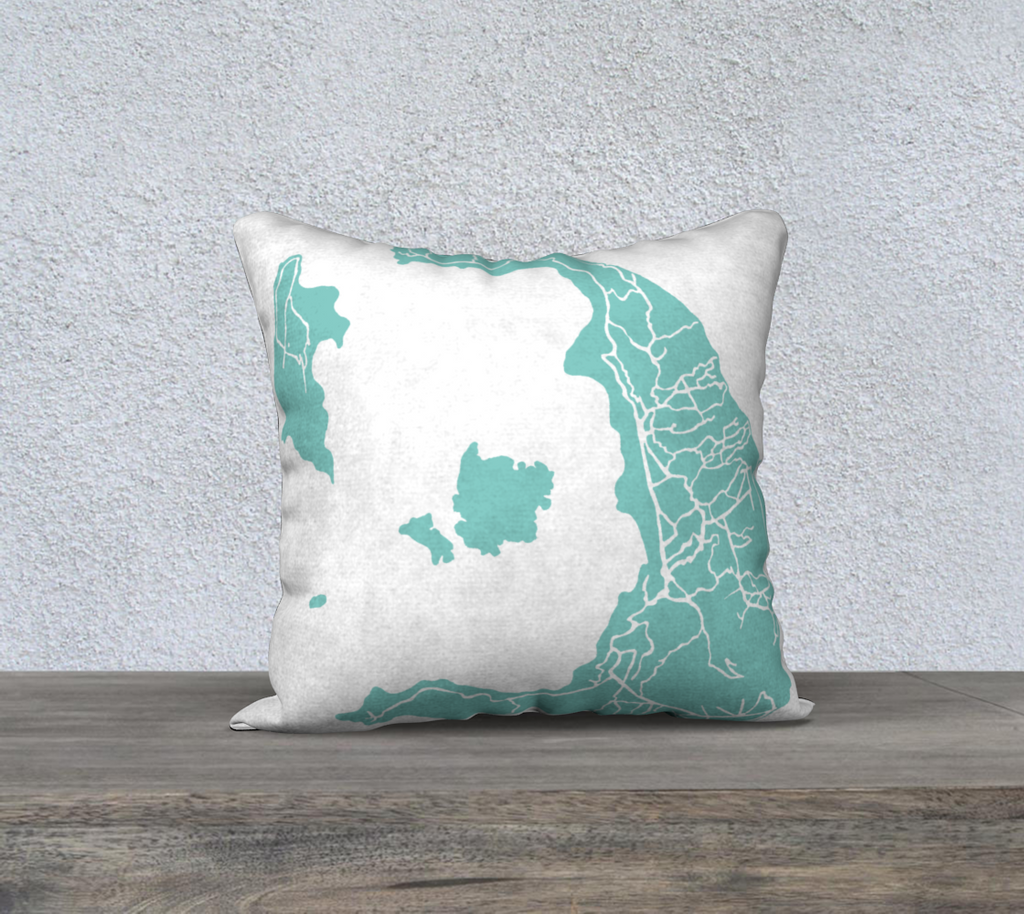 Santorini Greece Map Pillow Cover in Tiffany
