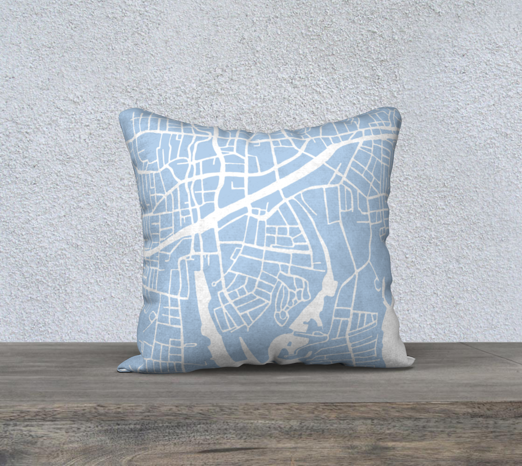 Stamford Connecticut Map Pillow Cover in Sky Blue