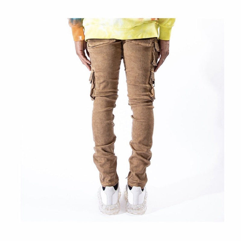 SERENEDE | TIGERS EYE CARGO DENIM JEAN ( KHAKI WASH)