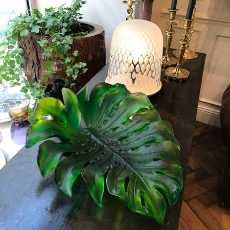 coupe monstera feuille cristal daum centre de table
