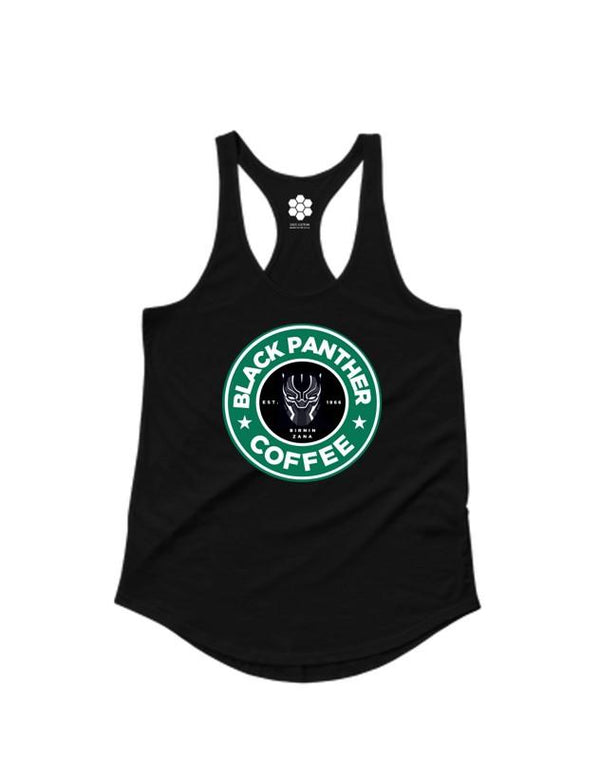 Black Panther Coffee Racerback-TANKS-WakandaForever