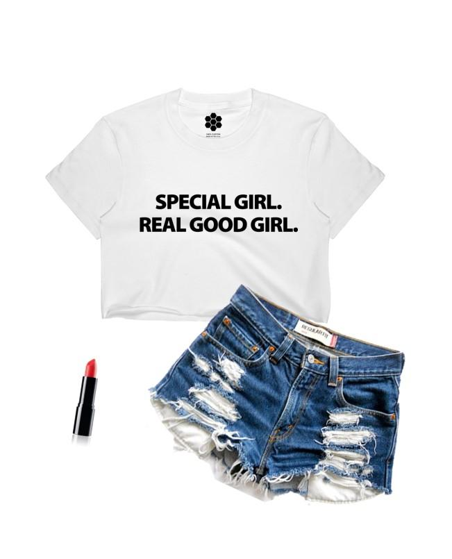 Special Girl Real Good Girl Crop Top-TANKS-WakandaForever