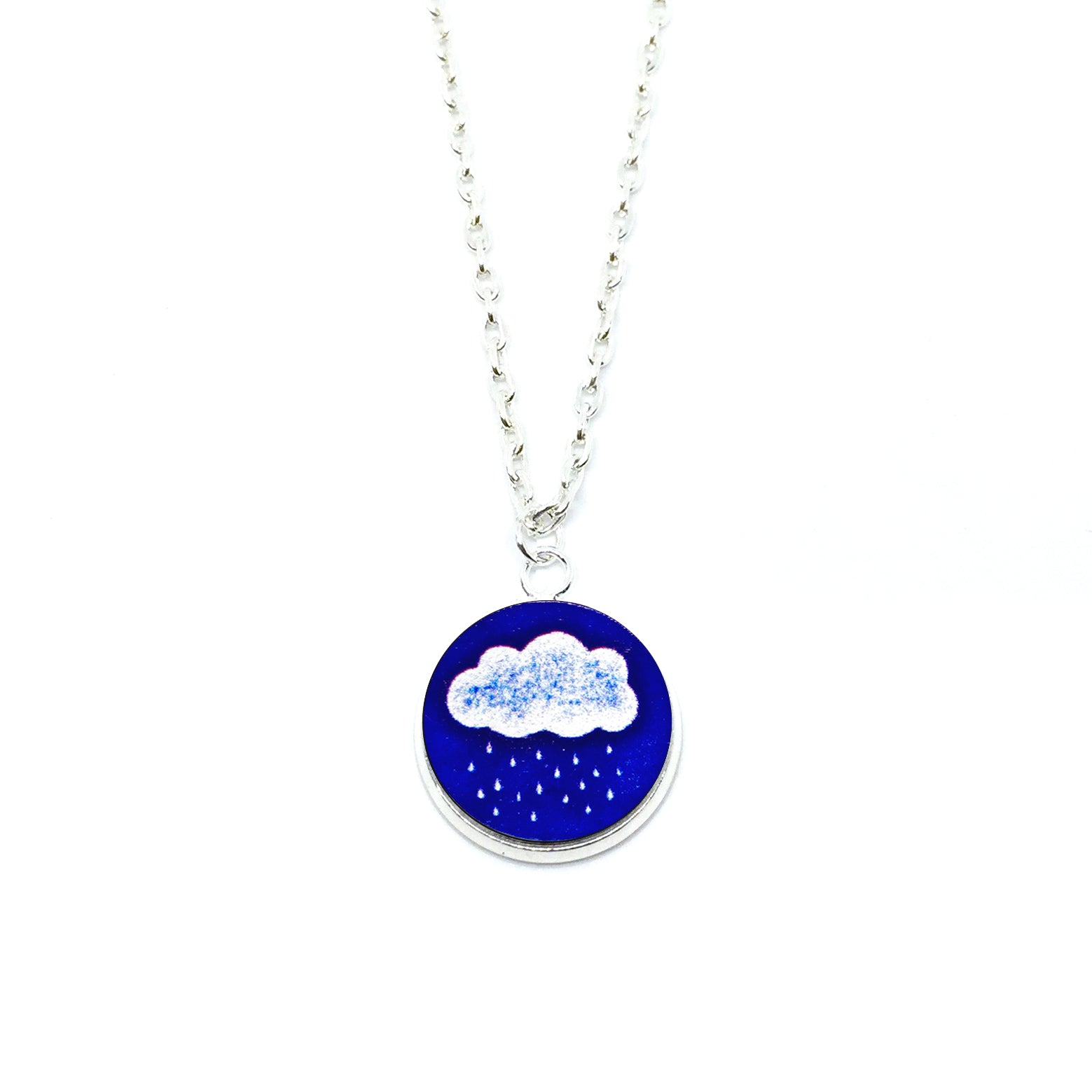 A Blue Raining Day Wood Pendant Necklace