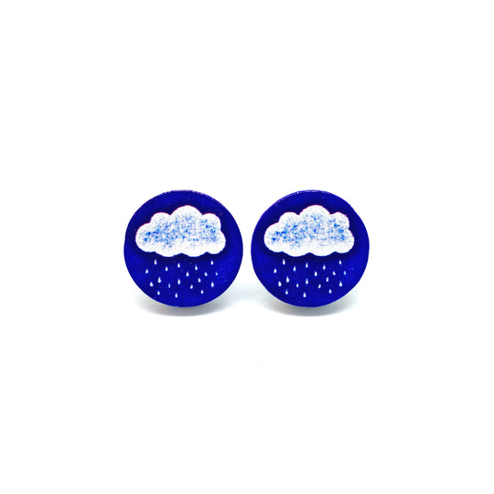 A Blue Raining Day Wooden Earrings