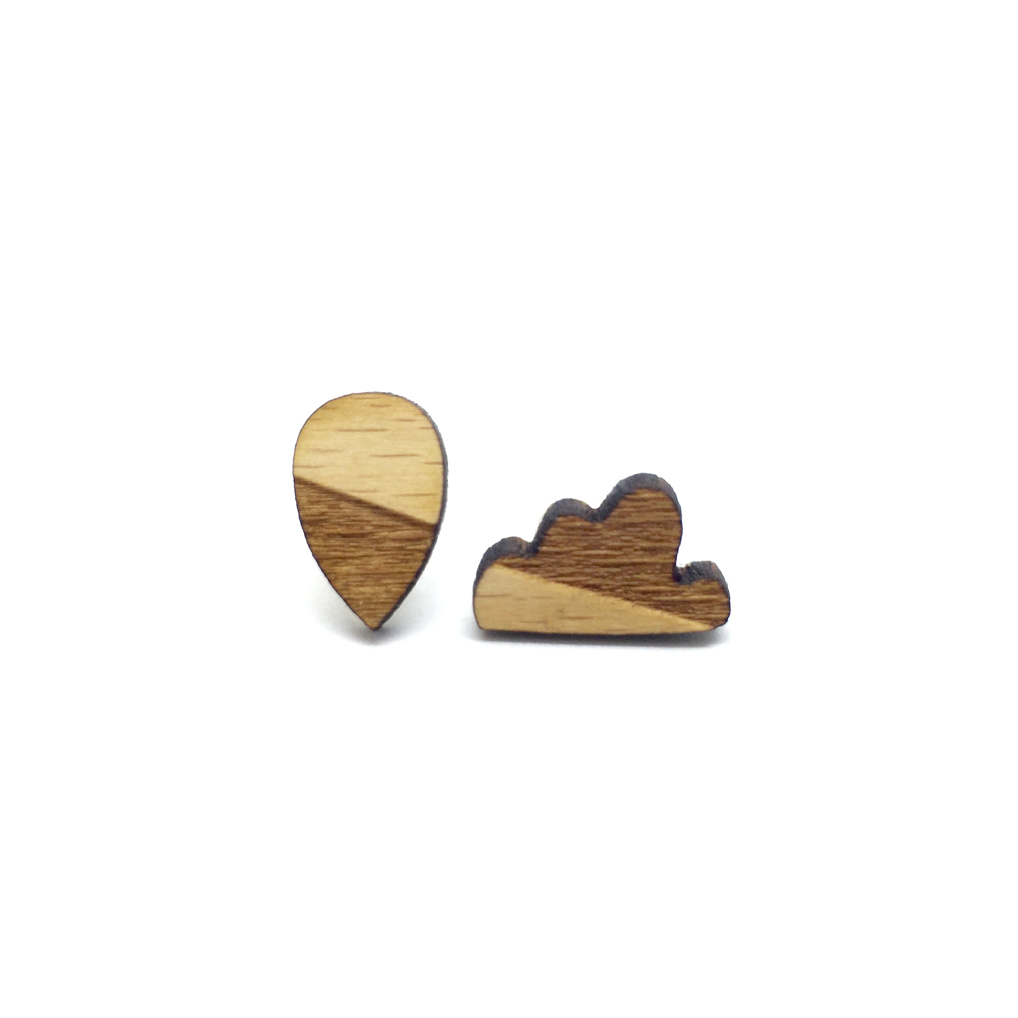 A Rainy Day Laser Cut Wood Earrings