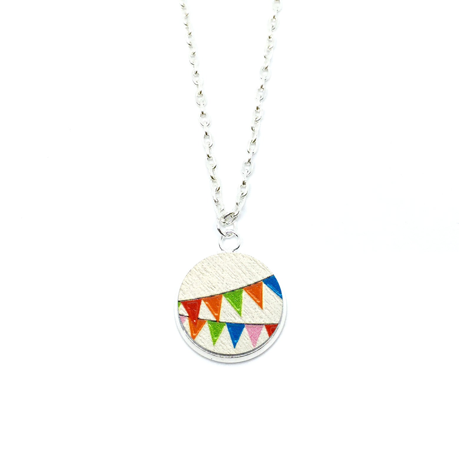 Bunting Banner Wood Pendant Necklace