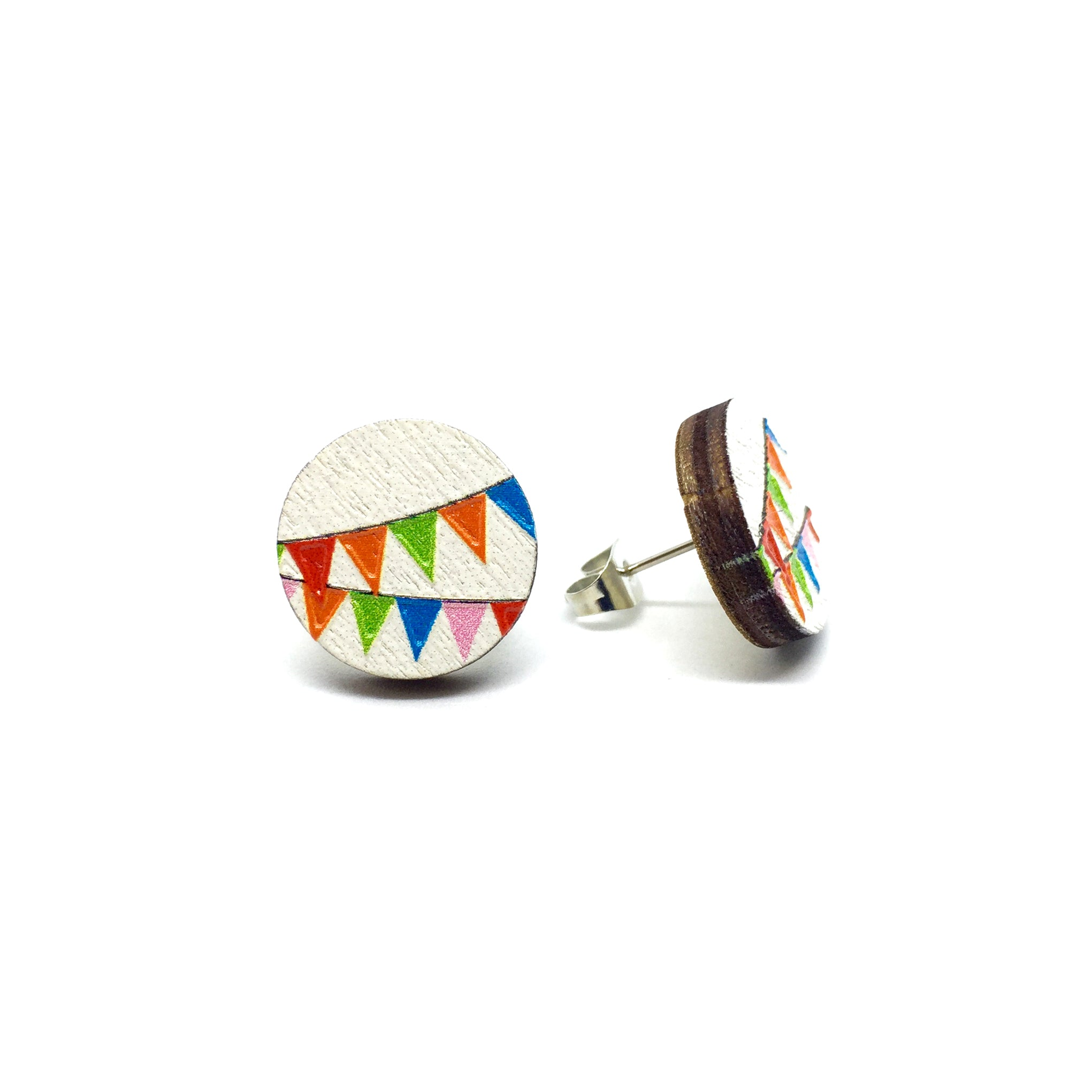 Bunting Banner Wooden Earrings