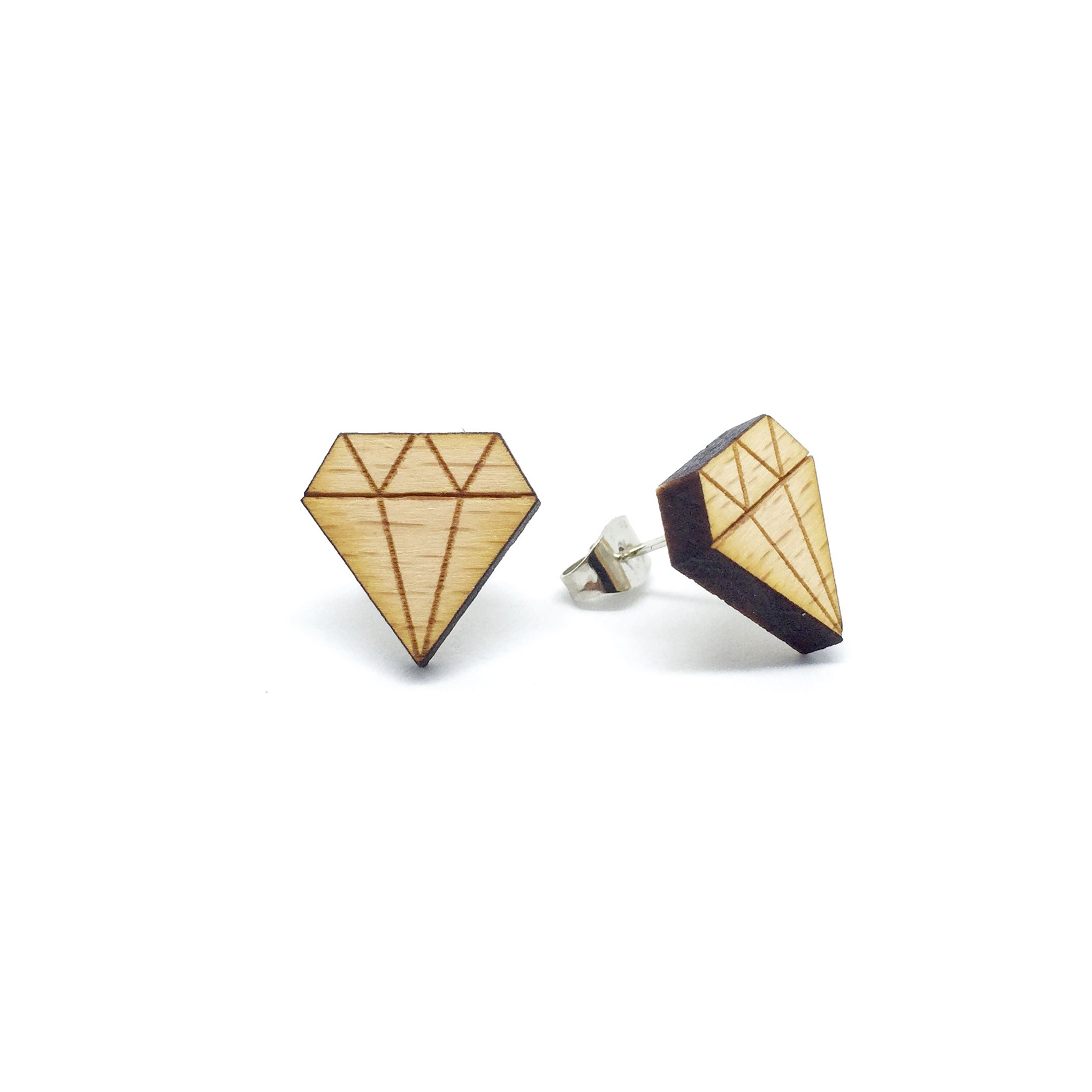Diamond Laser Cut Wood Earrings