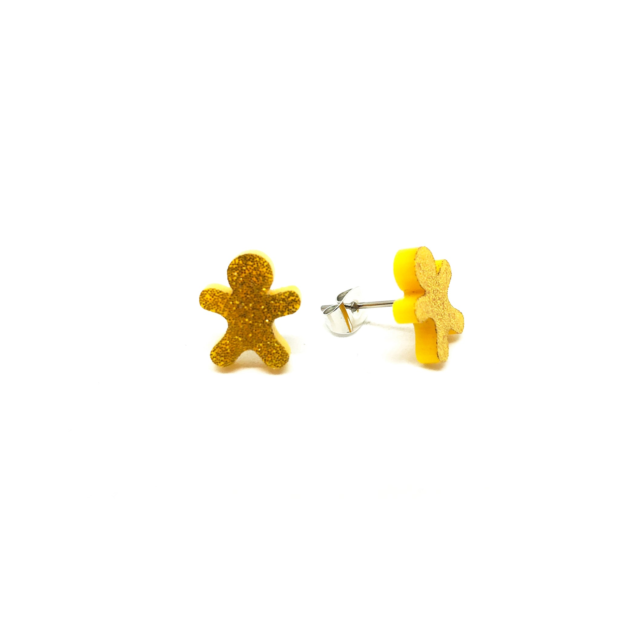 Gold Glitter Gingerbread Man Laser Cut Acrylic Earrings