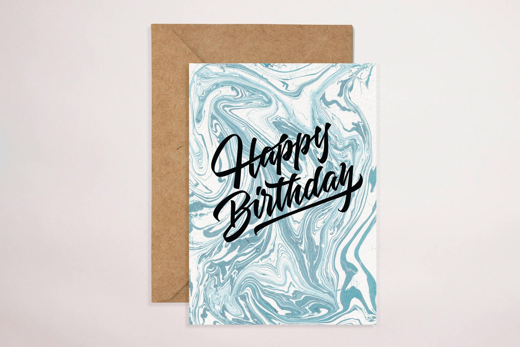 Happy Birthday - Blue Swirls (Greeting Card)