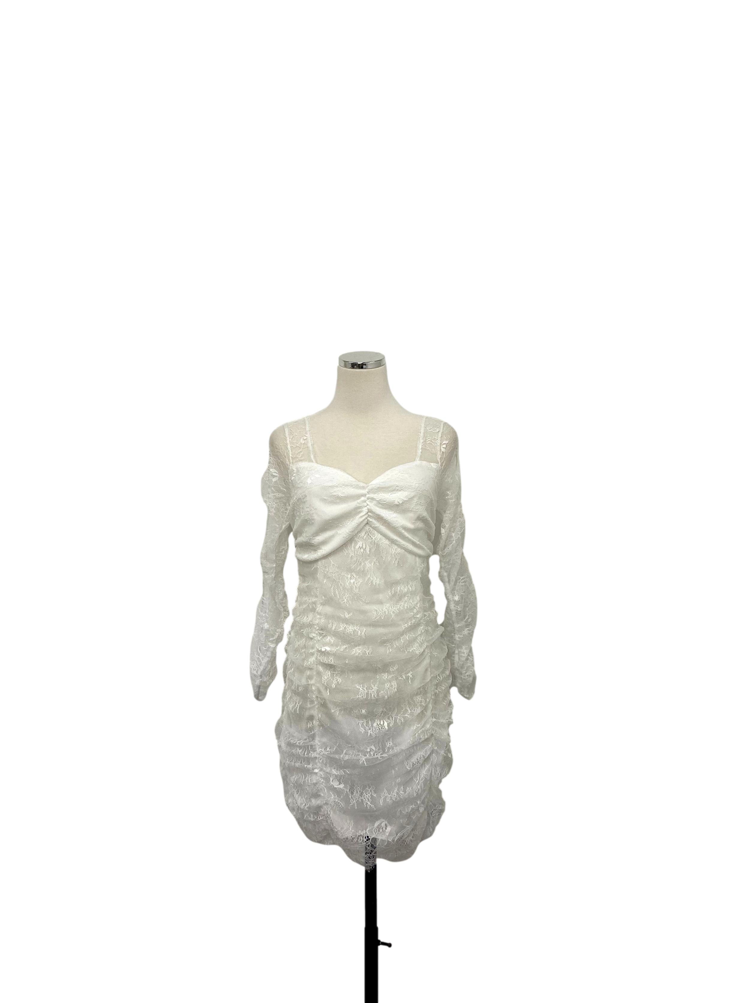 White Halter Shift Pleats Dress