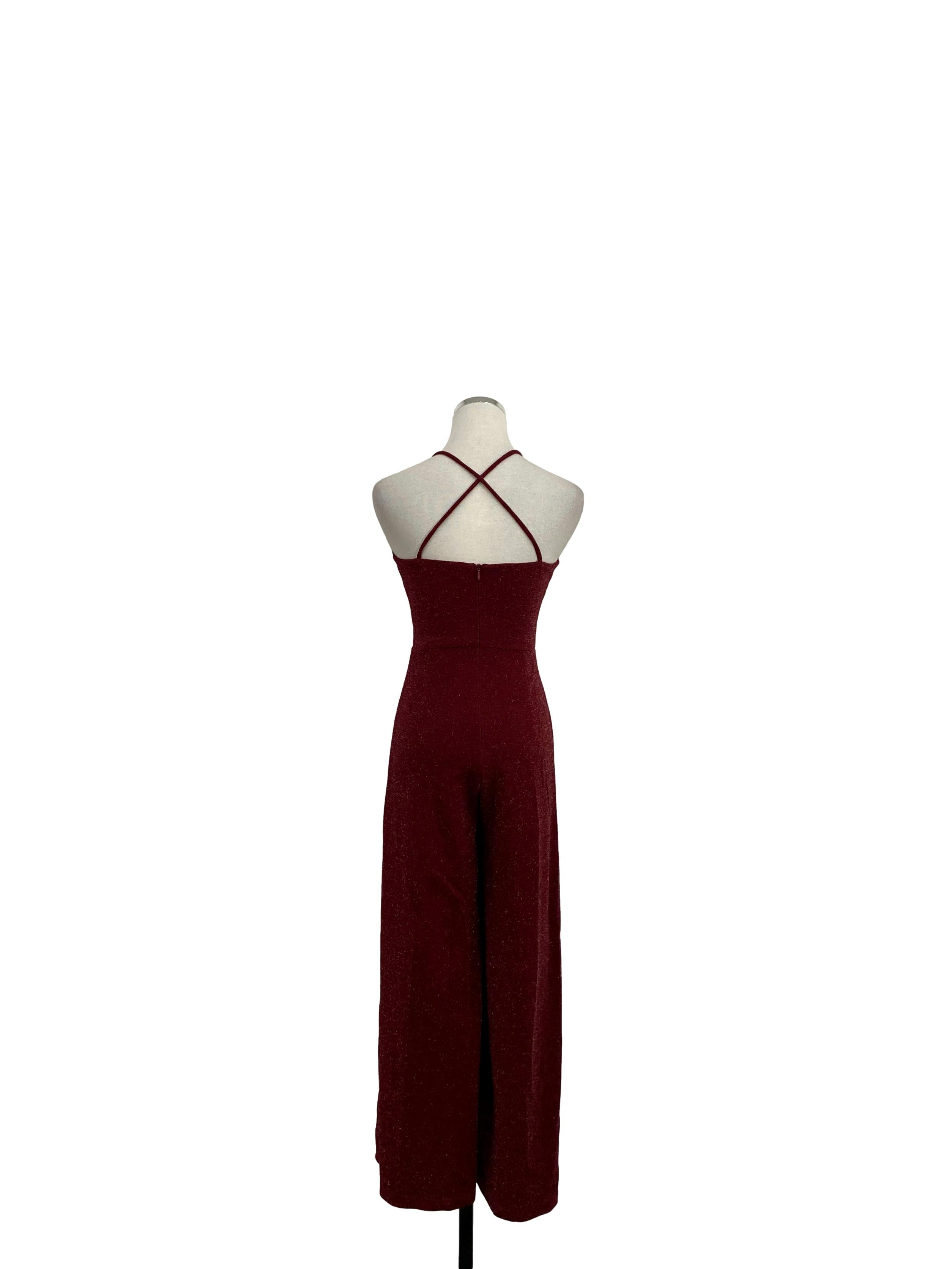 Sparkly Wine Red Cross Back Jumpsuit