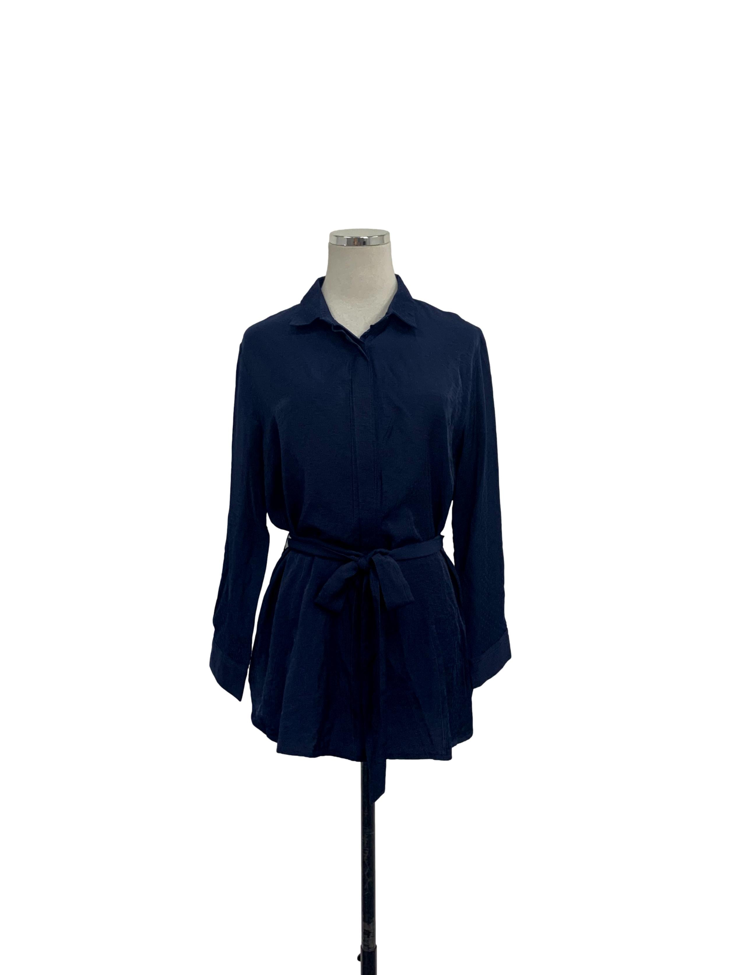 Navy Blue Long Sleeve Blouse with Concealed Buttons