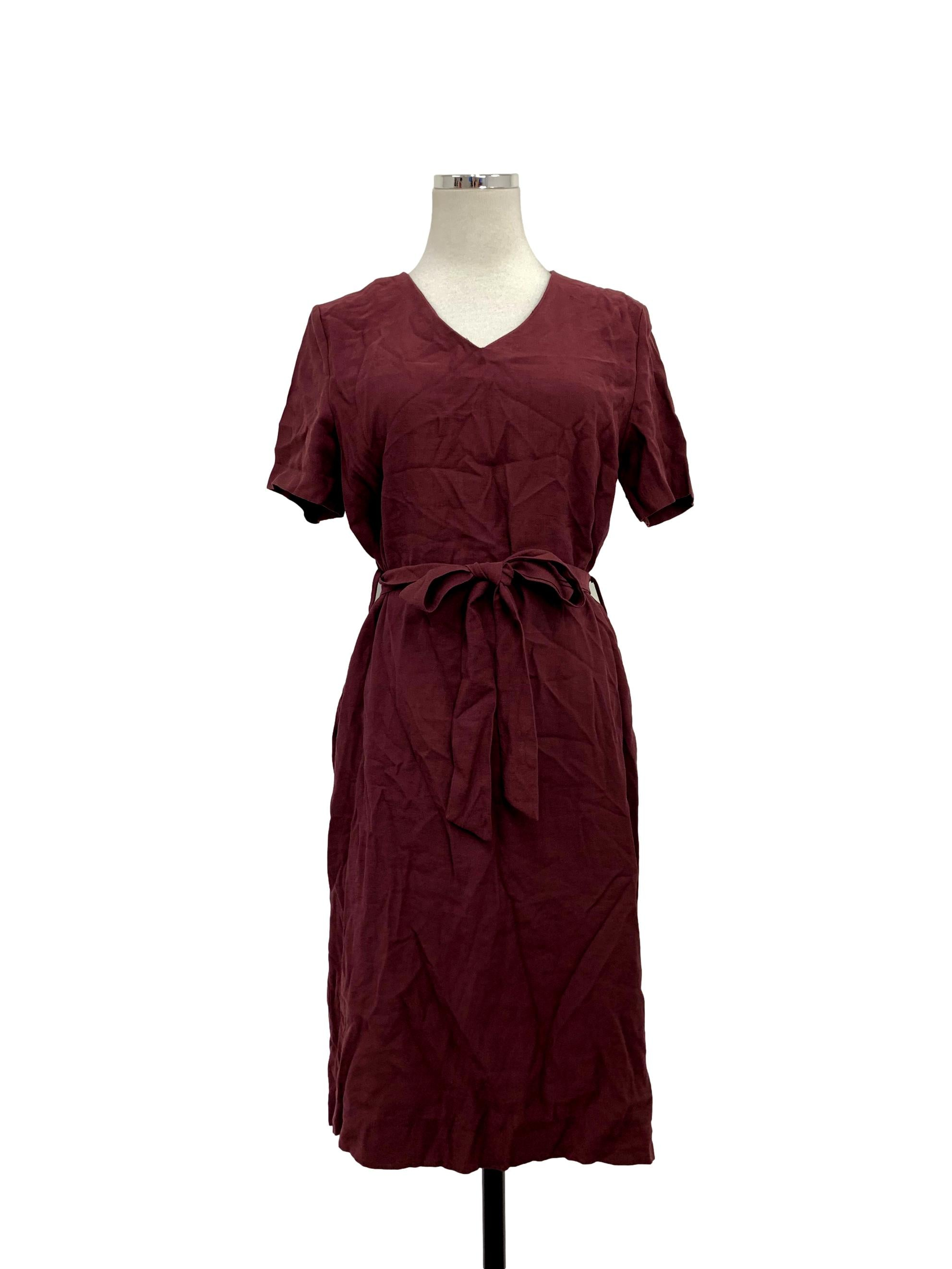 Maroon V-Neck Short Sleeve Midi Dress