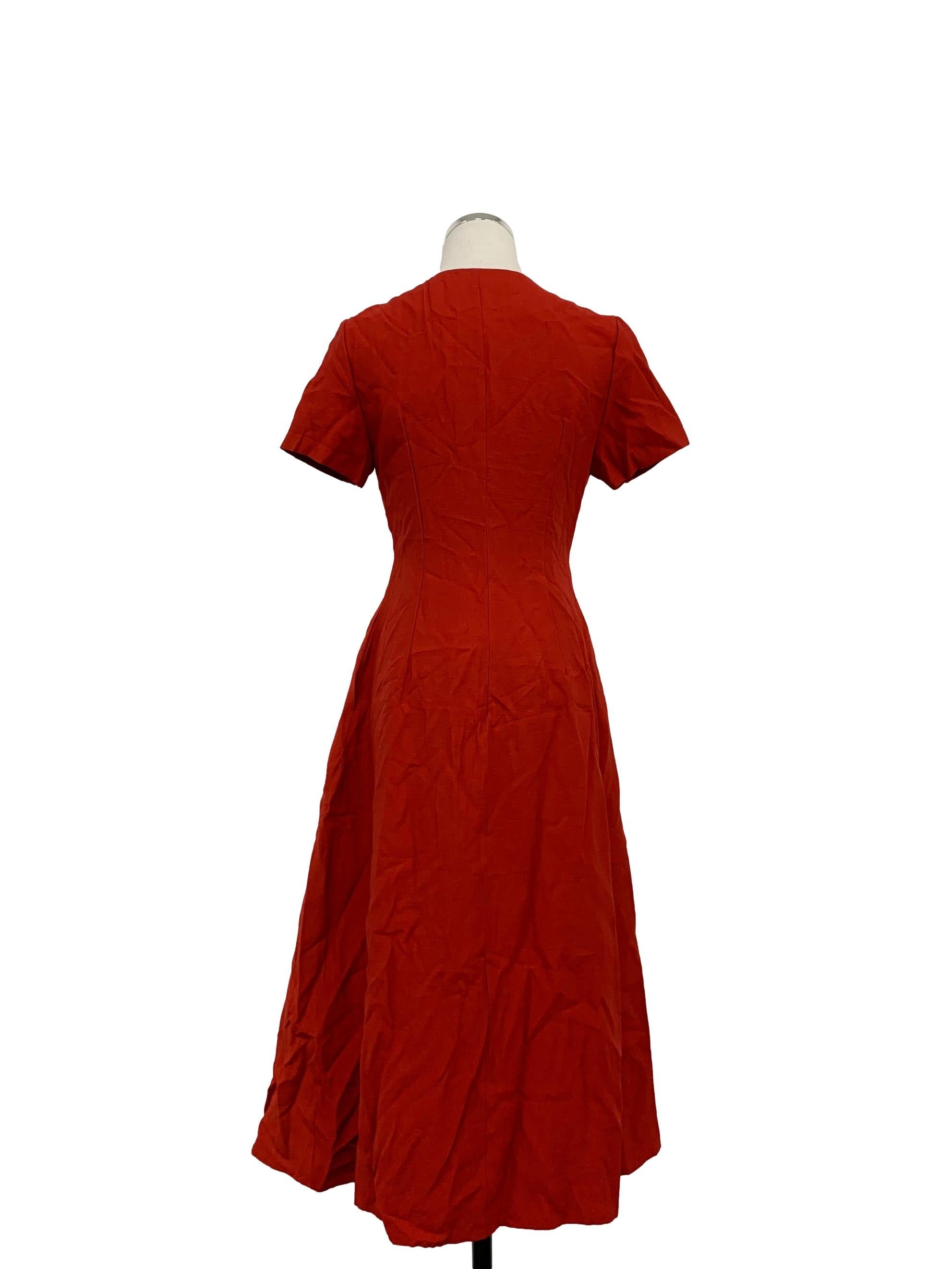 Scarlet Buttoned Down Tuck-Seam Midi Dress