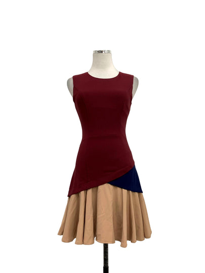 Maroon Based Ruffled Hem Dresses