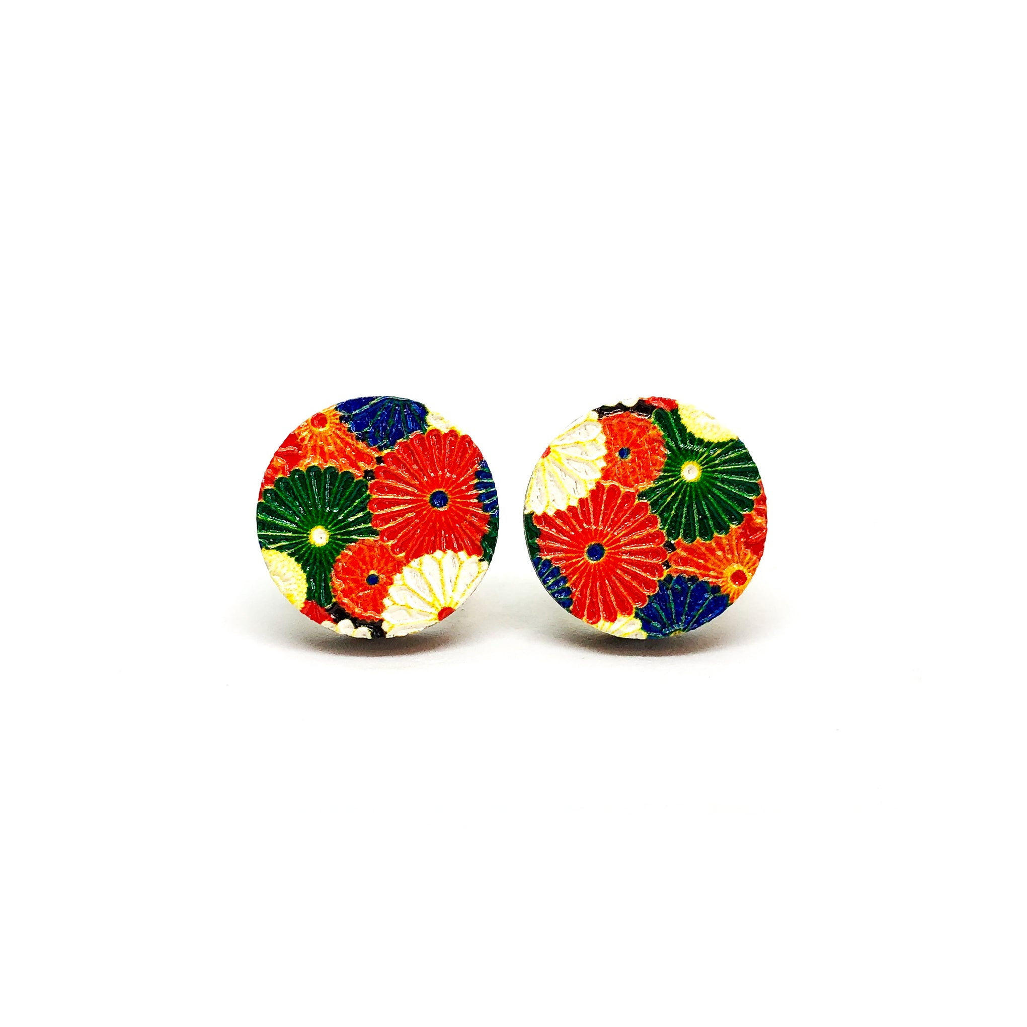 Kimono Flowers Wooden Earrings