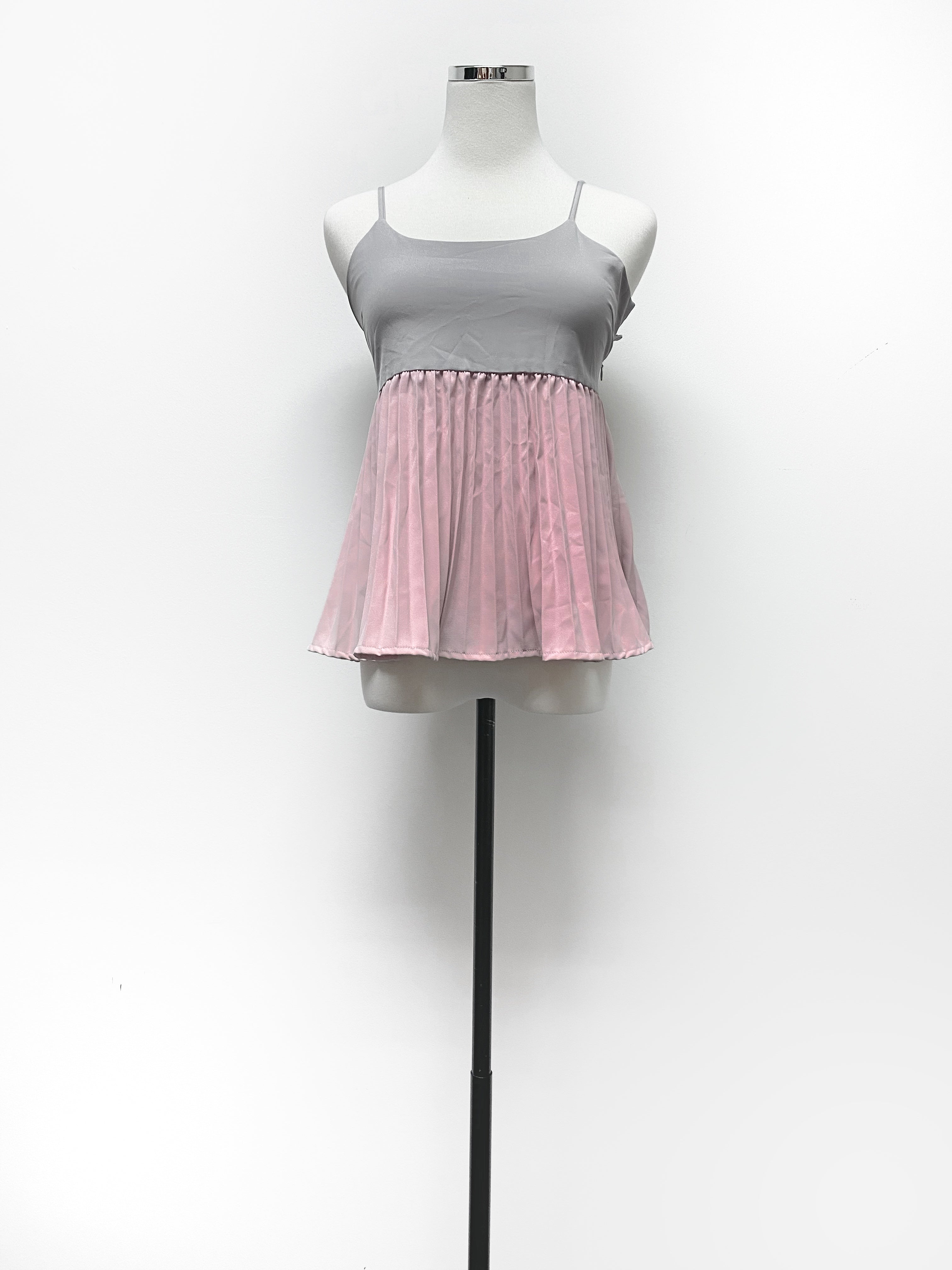 Grey Top With Pink Pleats