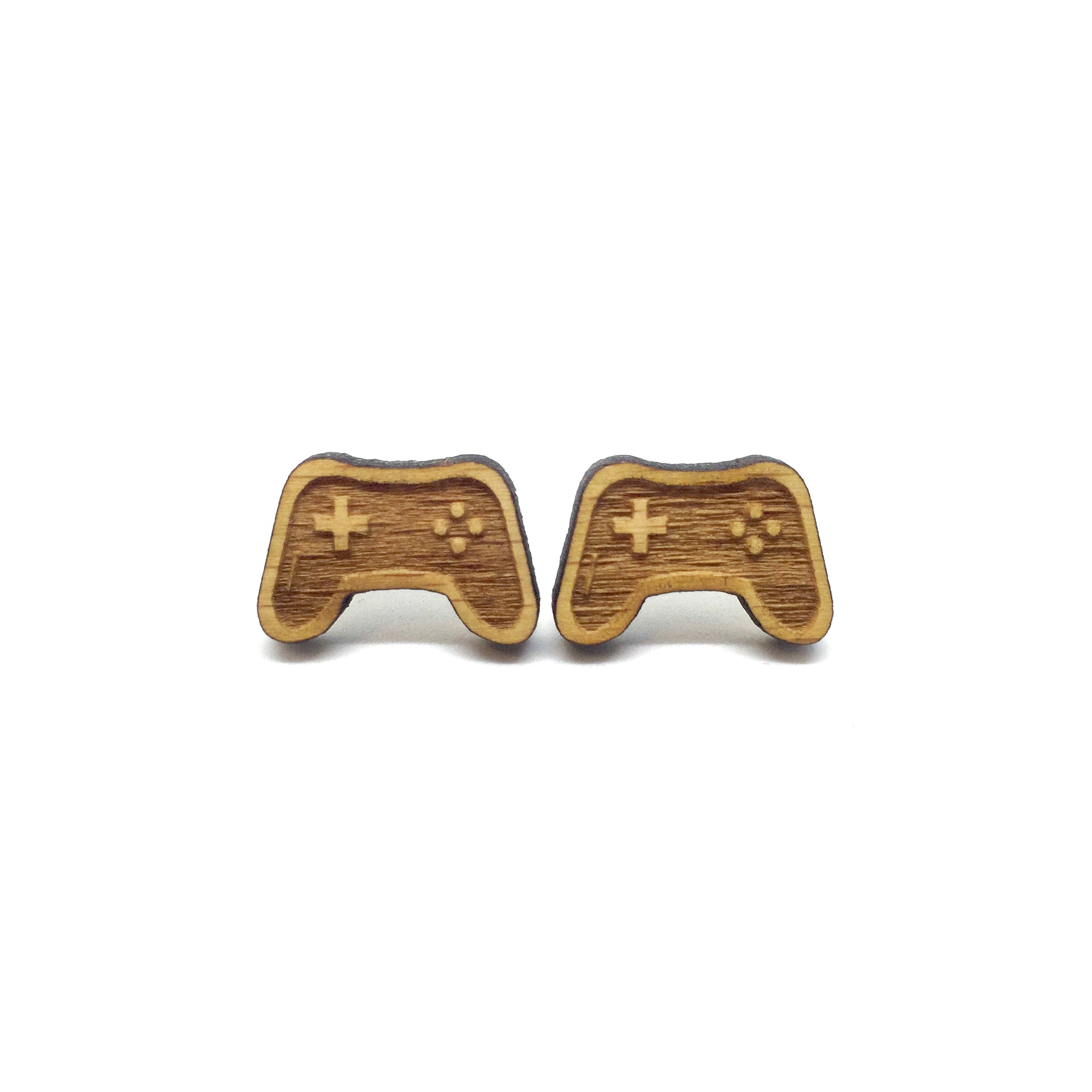 Playstation Controller Laser Cut Wood Earrings