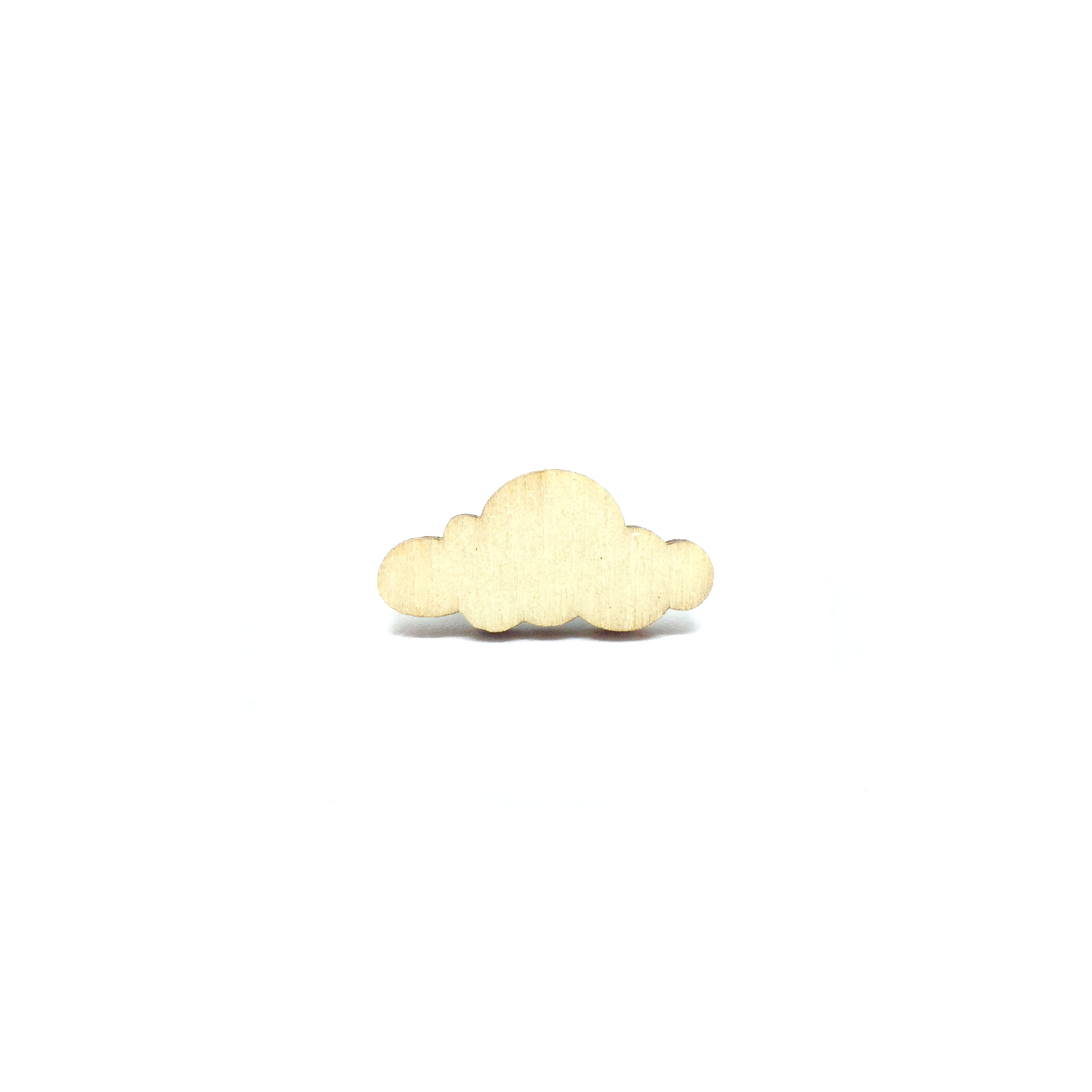 Sunny Clouds Wooden Brooch Pin