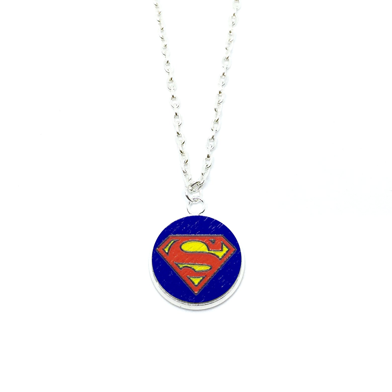 Superman Wood Pendant Necklace