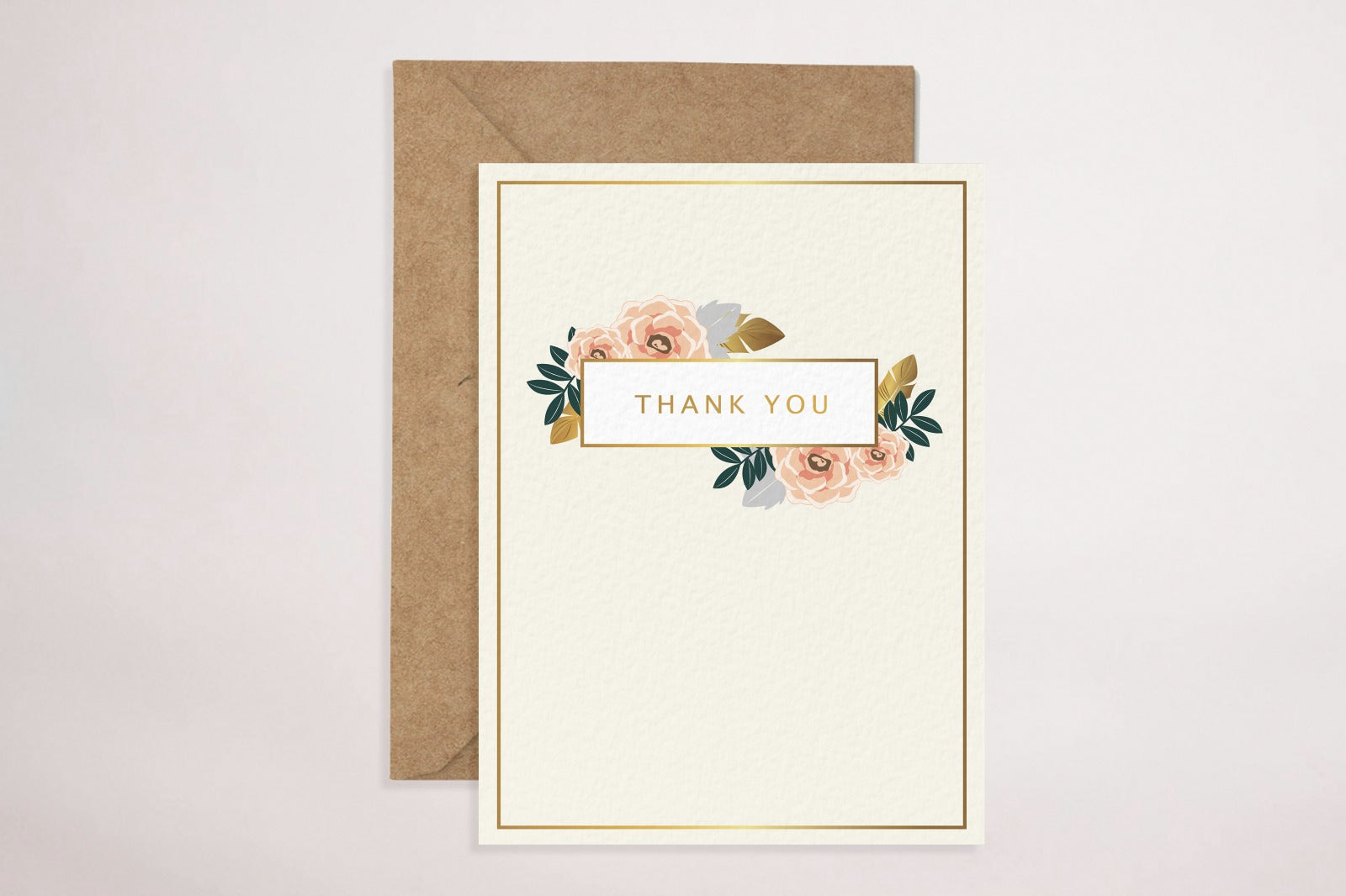 Thank You - Cream Floral (Greeting Card)