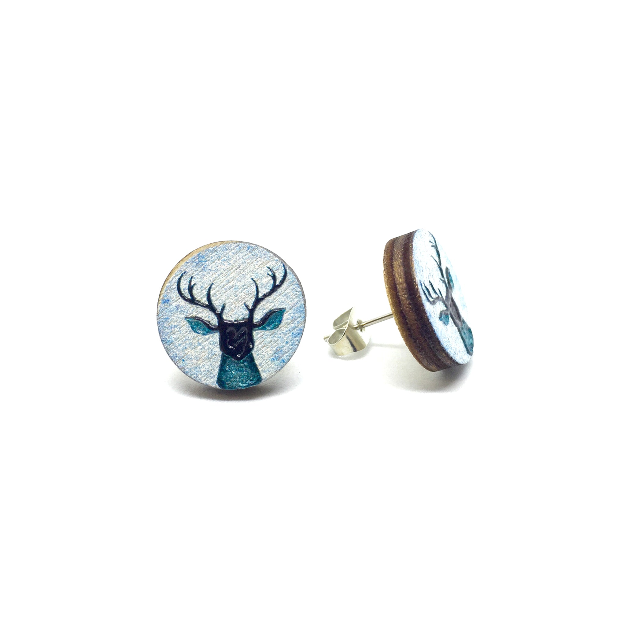 Vintage Blue Deer Wooden Earrings