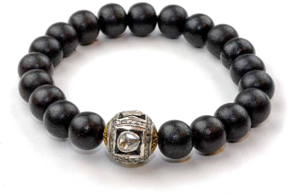 Black Wood Beads with a Large Polki Diamond Bead