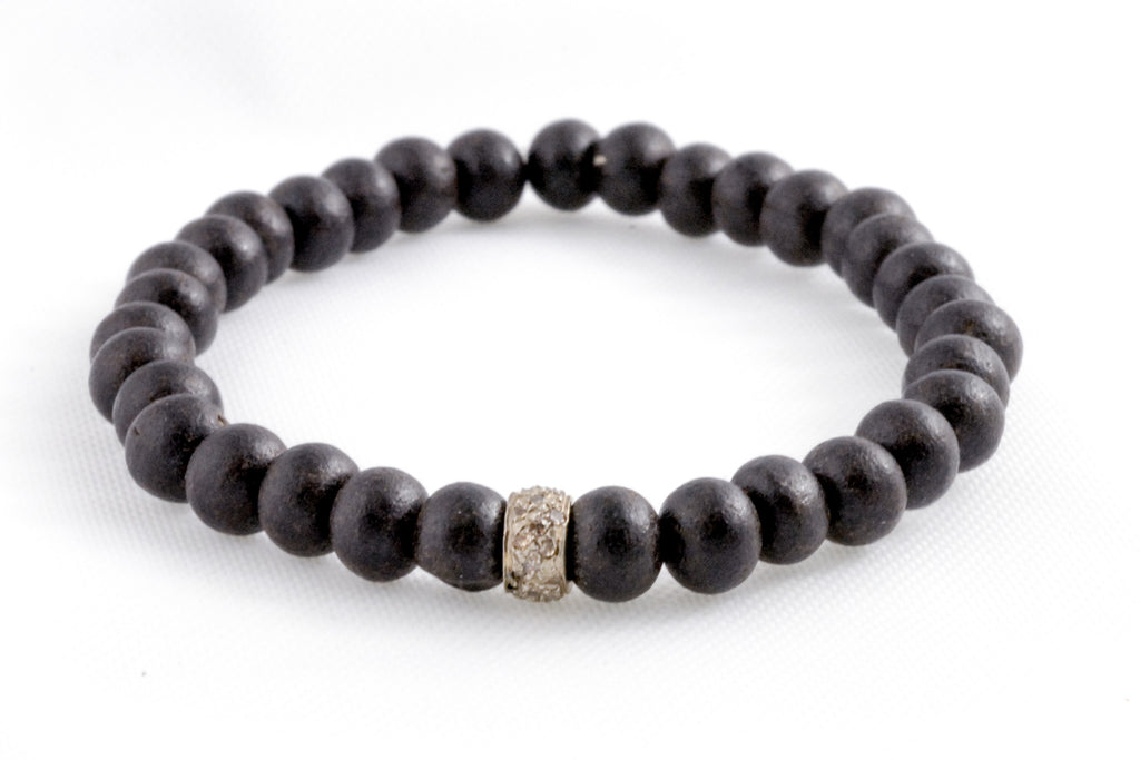 Black Small Wood Beads with a Extra Small Pave Diamond Bead
