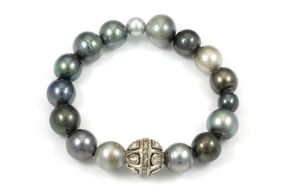 Assorted Pearls with a Polki and Pave Diamond Bead