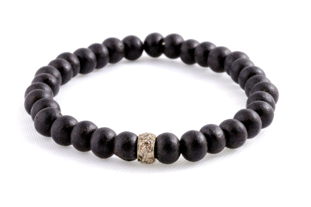 Black Wood Beads with a Small Pave Diamond Bead