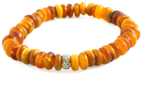 Amber Dyed Horn Beads with a Small Pave Diamond Band - Katie
