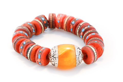 Hand Carved & Dyed Bone with Inlaid Coral & Turquoise Pieces and a Amber & Silver Bead