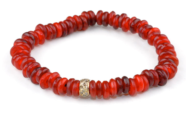 Red Dyed Horn Beads with a Small Pave Diamond Band - Katie