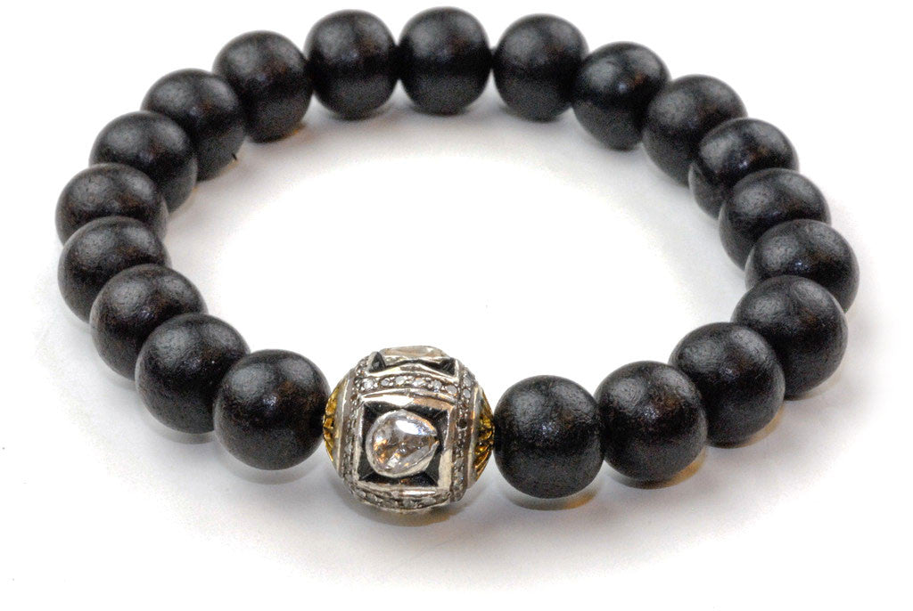 Black Wood Beads with a Medium Polki Diamond Bead