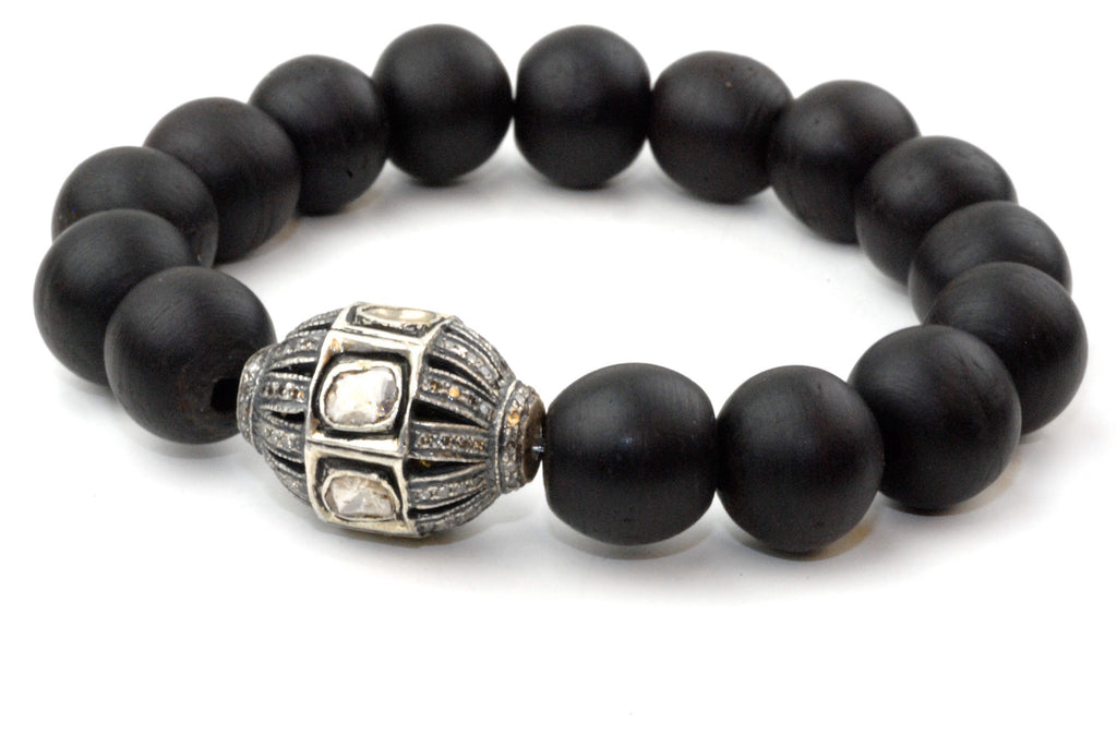 Black Large Wood Beads with a Extra Large Polki Diamond Bead