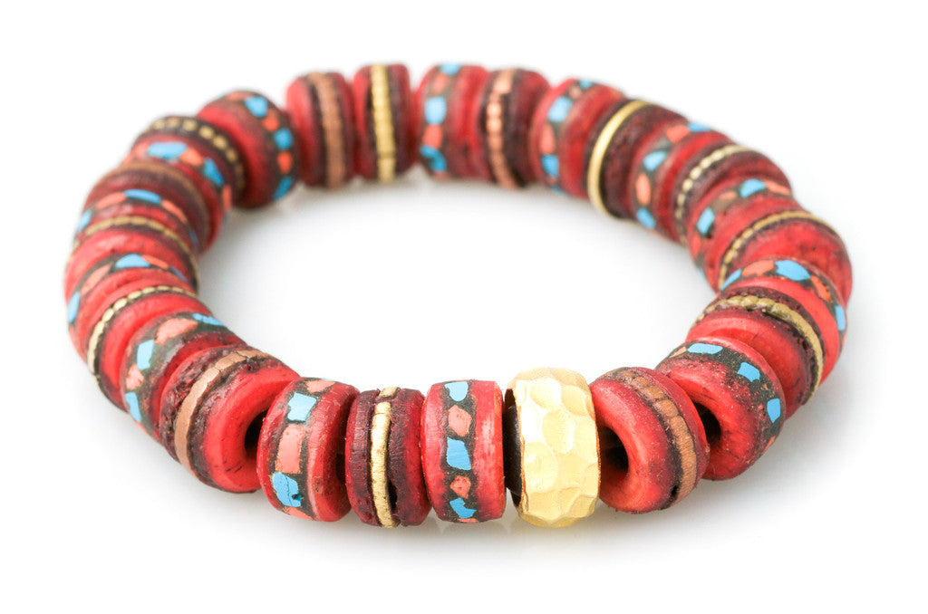 Hand Carved & Dyed Bone with Inlaid Coral & Turquoise Pieces with a Solid 24K Ring