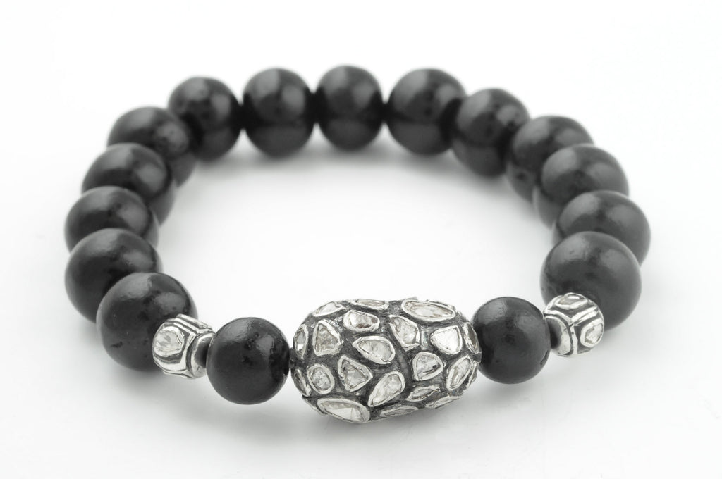 Black Wood Beads with Extra Extra Large Polki Diamond with 2 Accent Beads
