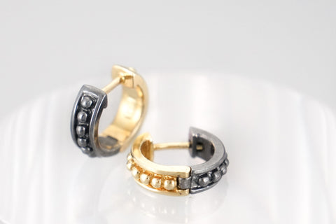 18K & Blackened Silver Reversible Small Huggie Hoops