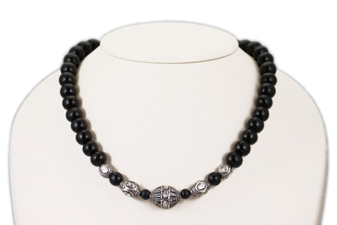 Black Wood Bead Necklace with a Large Polki Diamond Bead & 4 Additional Diamond Beads