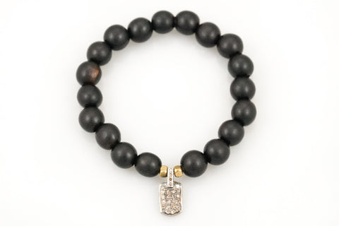 Black Wood Beads with Diamond Dog Tag