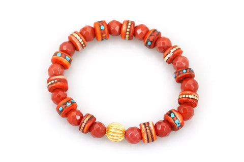 Carnelian Beads with Hand Carved and Dyed Bone with Inlaid Coral & Turquoise Pieces and a Gold Bead