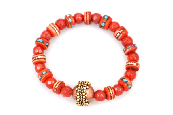 Carnelian with Hand Carved & Dyed Bone with Inlaid Coral & Turquoise Pieces and a Brass Bead