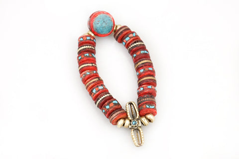 Hand Carved & Dyed Bone Beads w Inlaid Coral & Turquoise Pieces with a Tibetan Charm