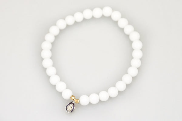 White Agate Beads with a Hanging Pave Diamond Bead - Katie