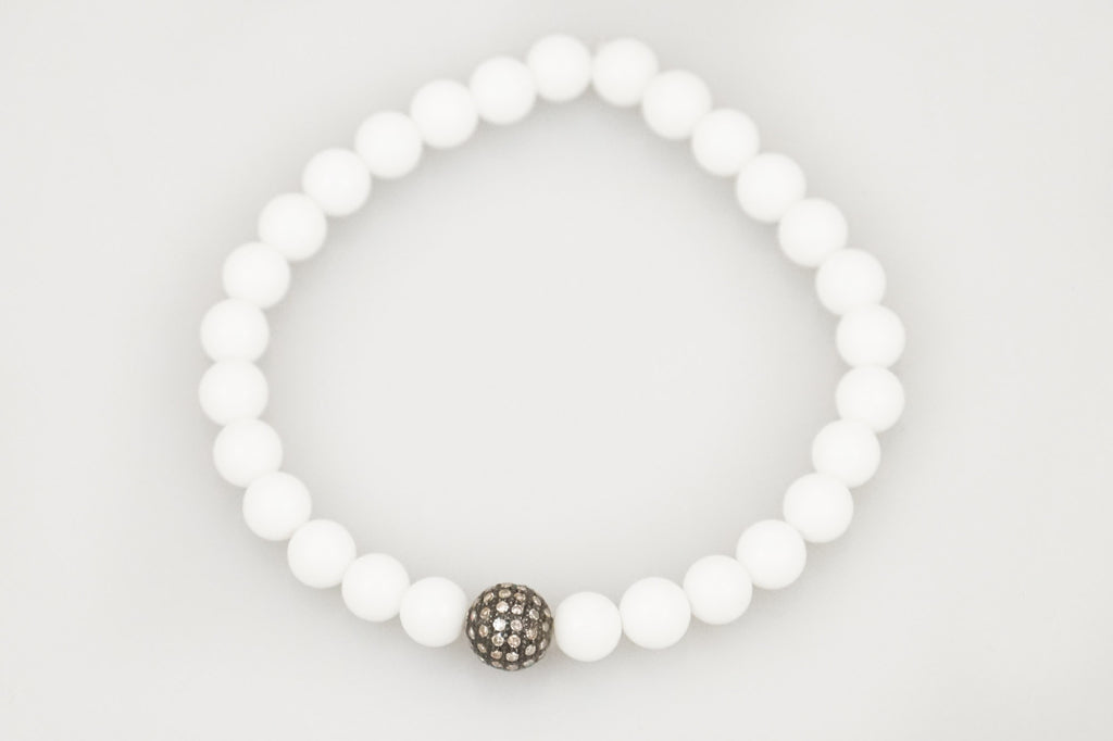 White Small Agate Beads with Small Round Paved Diamond Bead