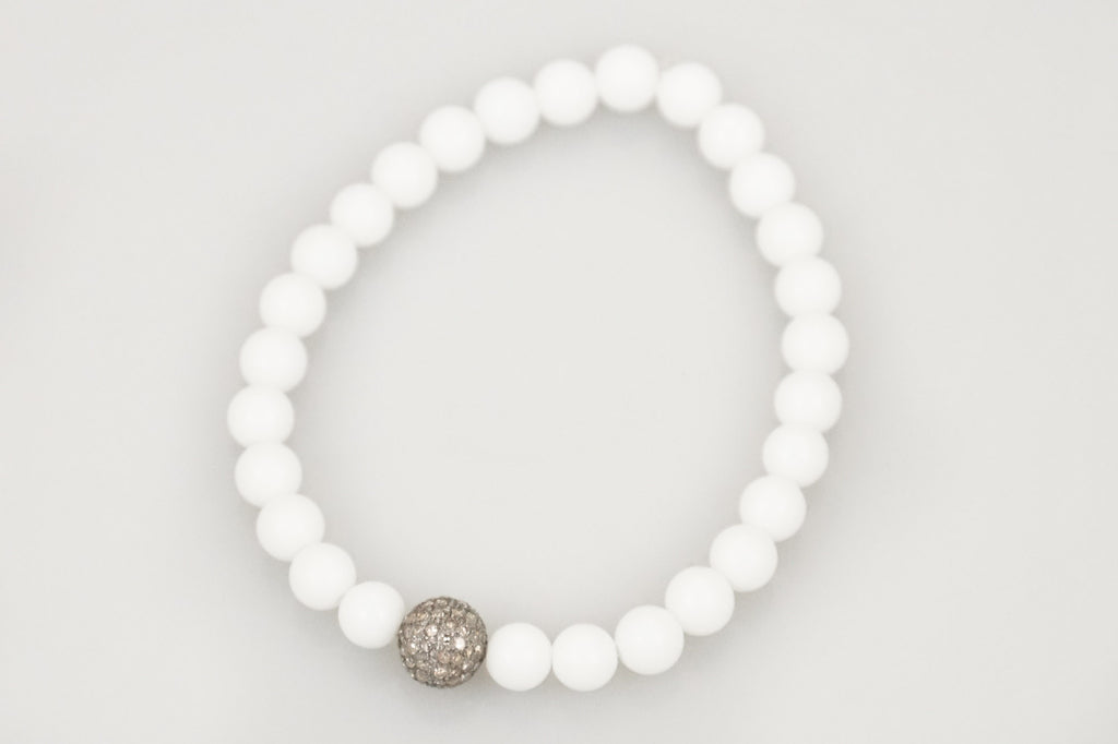 White Small Agate Beads with a Small Round Pave Diamond Bead - Katie